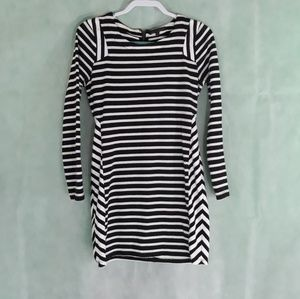 Lucca Couture Stripe Long Sleeve Knee Length Dress